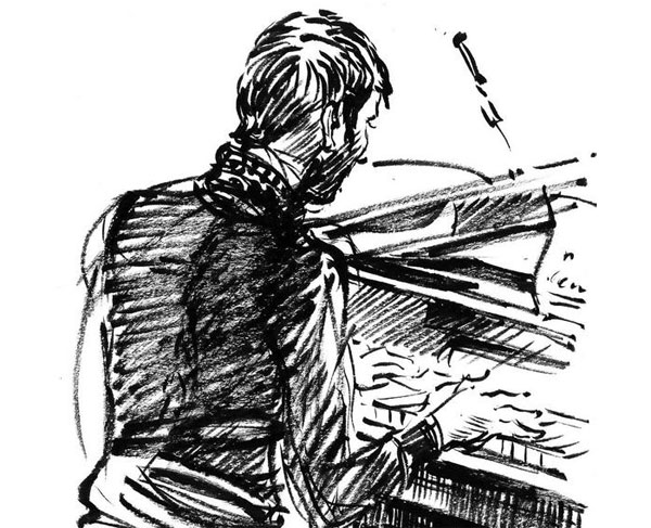 Sketched on an old piano